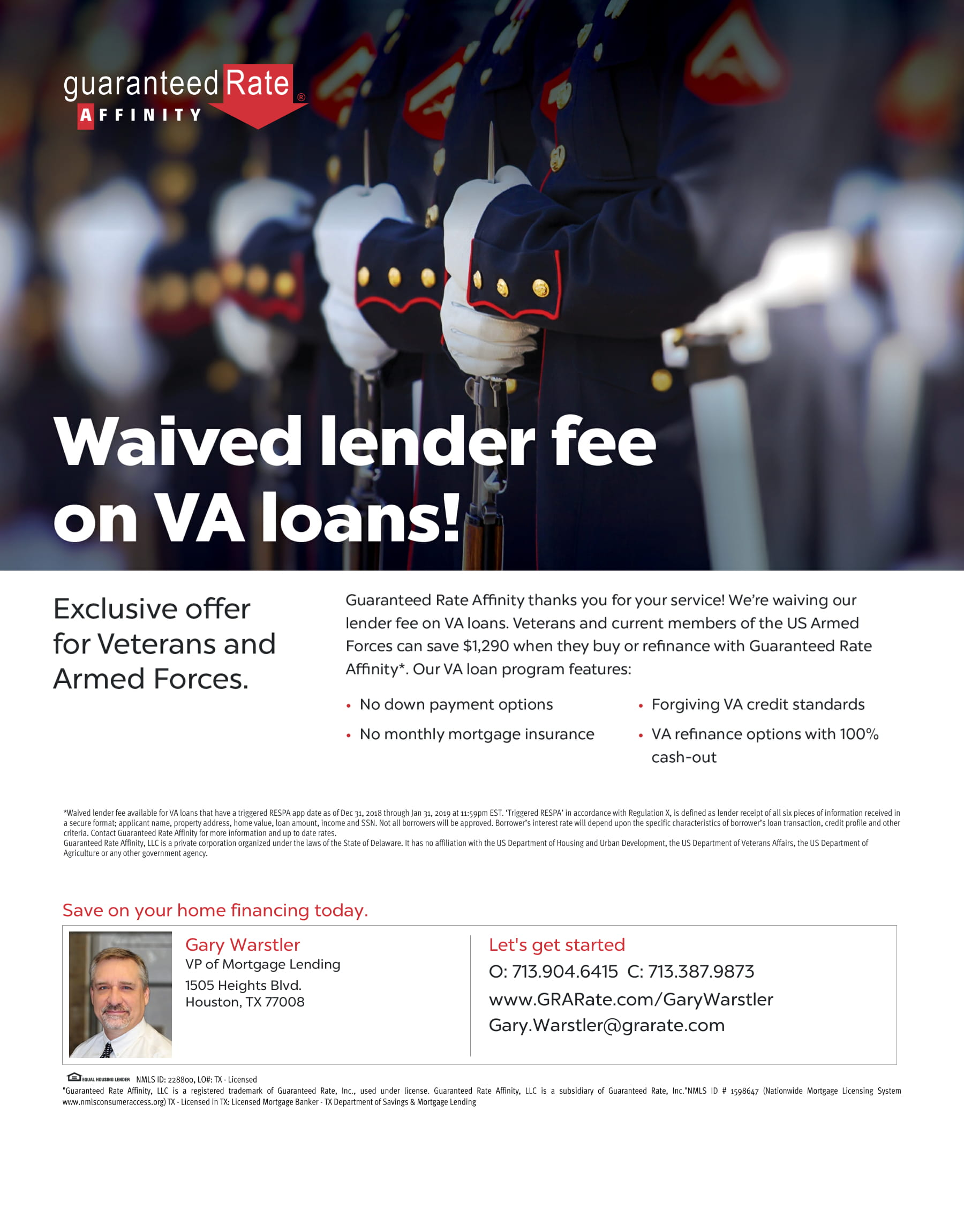 waived lender fee on va loans and refinances the woodlands tx conroe