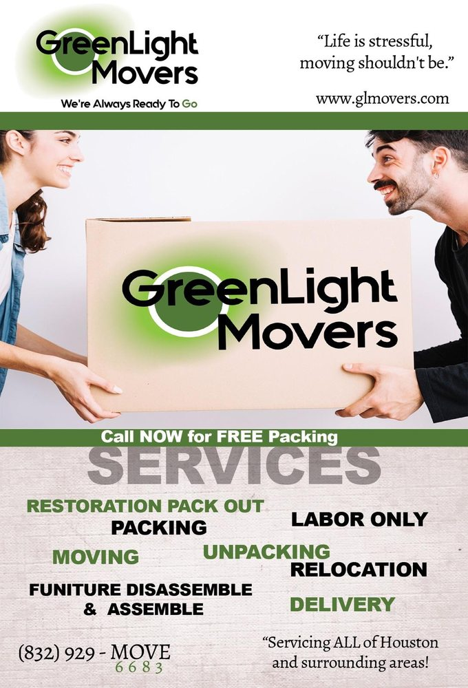 greenlight movers - recommended as the best mover in the woodlands, spring, conroe, klein, tomball, houston areas