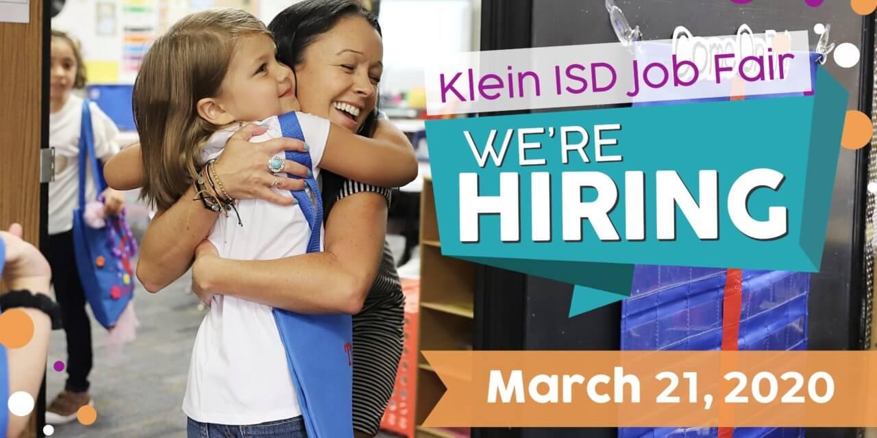 klein isd is hiring job poster. little girl hugging teacher.