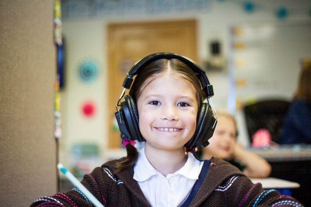 little school girl smiling