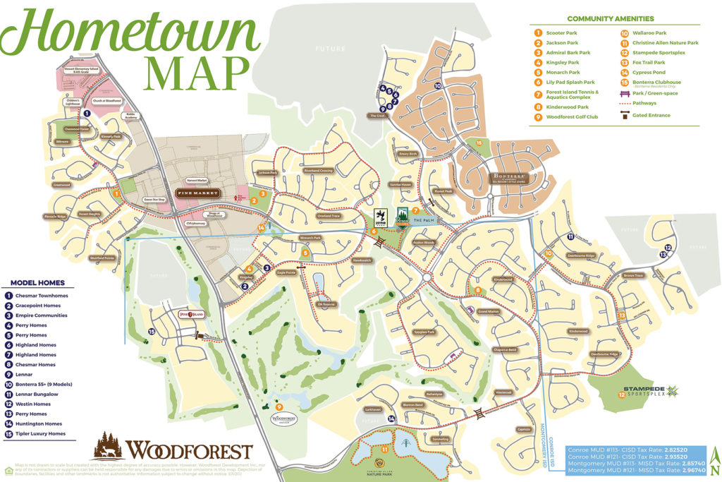 hometown map of woodforest with models and parks