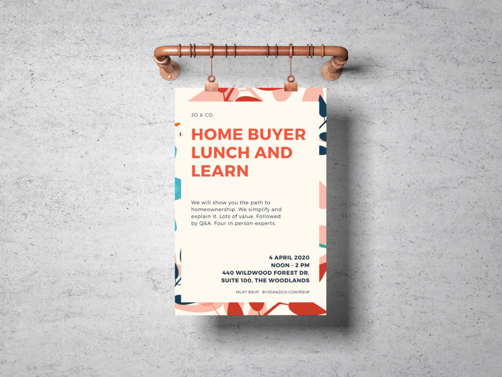 first time home buyer and home buyer lunch and learn seminar class in the woodlands spring tx texas