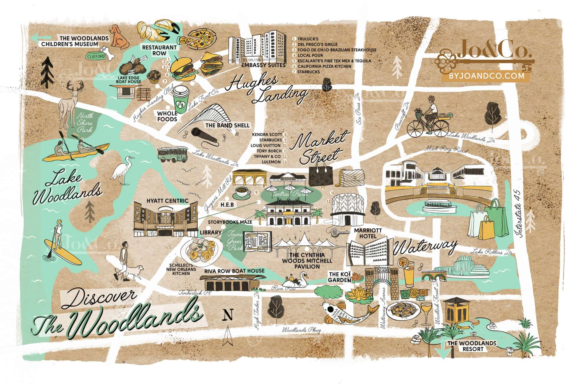 map of the fun stuff to do in the woodlands
